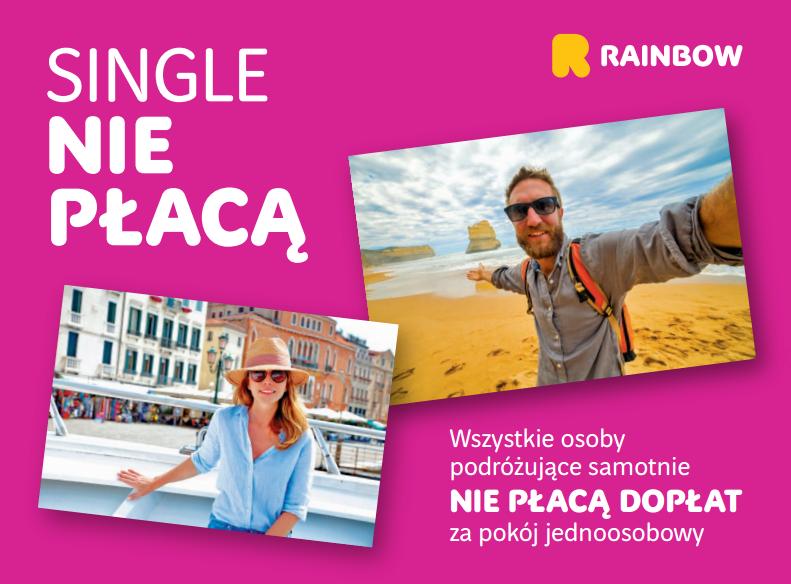 Rainbow – single nie płacą dopłat za pokój 1-osobowy